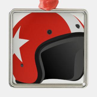 Red Helmet Metal Ornament