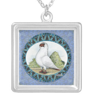 Red Helmet Pigeon Design Silver Plated Necklace