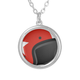 Red Helmet Silver Plated Necklace