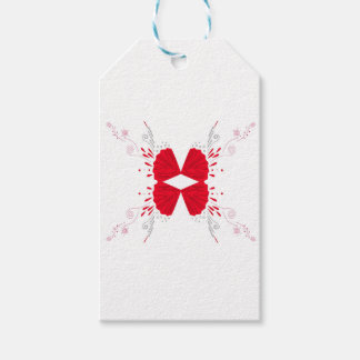 Red henna tattoo ethno on white gift tags