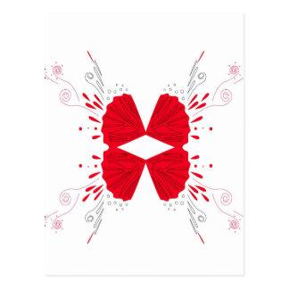 Red henna tattoo ethno on white postcard
