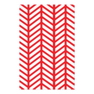 Red Herringbone Stationery