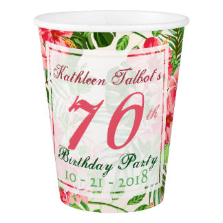 Red Hibiscus 70th Birthday Party Paper Cup