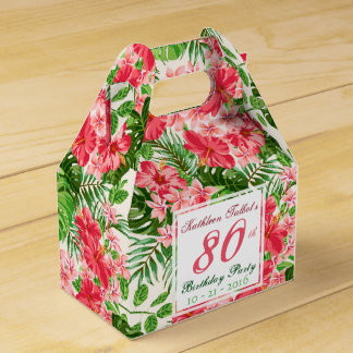 Red Hibiscus 80th Birthday Party Favor Box