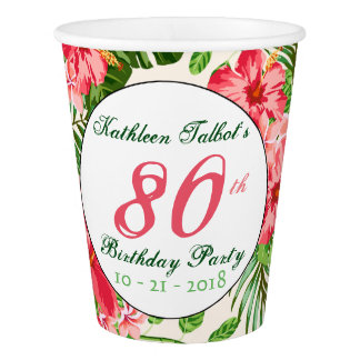 Red Hibiscus 80th Birthday Party Paper Cup
