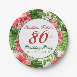 Red Hibiscus 80th Birthday Party Paper Plate