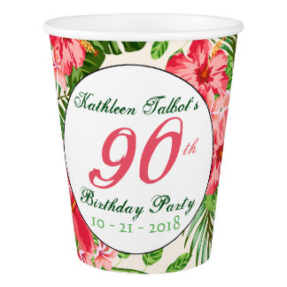 Red Hibiscus 90th Birthday Party Paper Cup