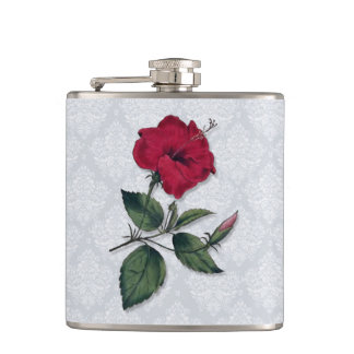 Red Hibiscus and Lace Hip Flask