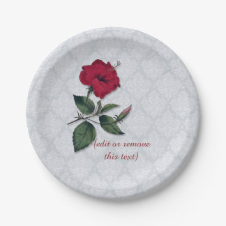 Red Hibiscus and white lace, light blue background 7 Inch Paper Plate