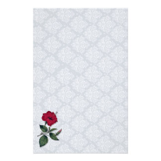 Red Hibiscus and white lace, light blue background Stationery