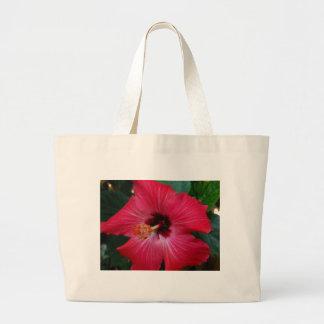Red Hibiscus Canvas Bag