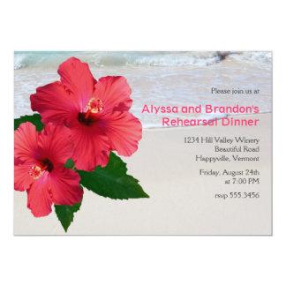 "Red Hibiscus Beach Wedding Rehearsal Dinner 5"" X 7"" Invitation Card"