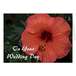 Red Hibiscus Blended Family Wedding Greeting Card