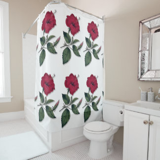 Red Hibiscus Blossom Shower Curtain