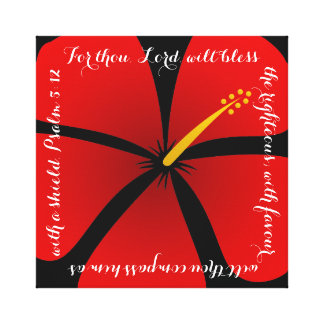 Red Hibiscus Canvas Bible Verse Stretched Canvas Prints