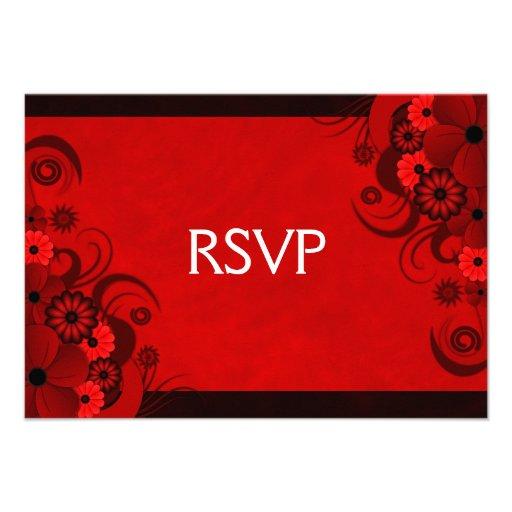 Red Hibiscus Elegant Custom RSVP Response Cards Invites