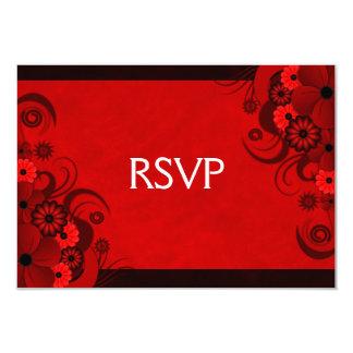 """Red Hibiscus Elegant Custom RSVP Response Cards 3.5"""" X 5"""" Invitation Card"""