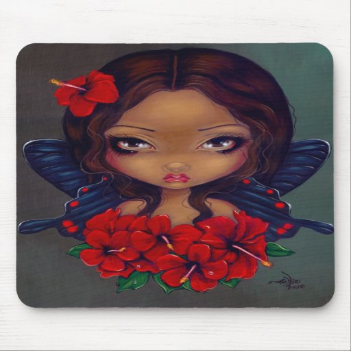 """""""Red Hibiscus Fairy"""" Mousepad"""