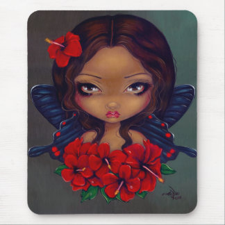 Red Hibiscus Fairy Mousepad