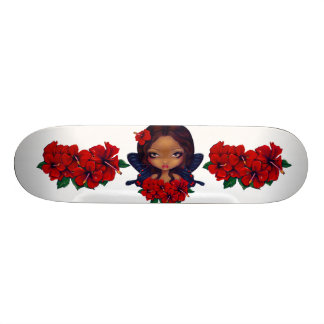 Red Hibiscus Fairy Skateboard
