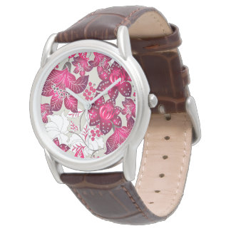 Red hibiscus floral watch
