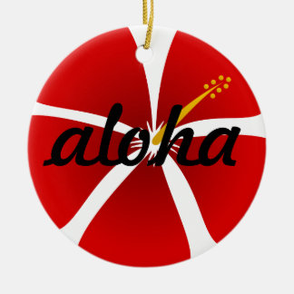 Red Hibiscus Flower Aloha Christmas Ornament
