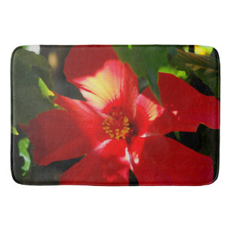 Red Hibiscus Flower in Sunlight Bath Mat