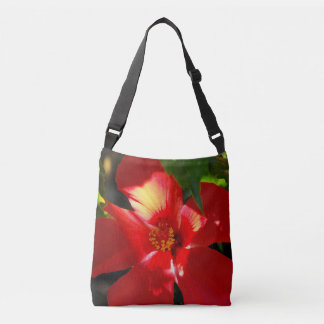 Red Hibiscus Flower in Sunlight Crossbody Bag