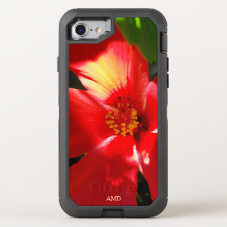 Red Hibiscus Flower in Sunlight OtterBox Defender iPhone 8/7 Case