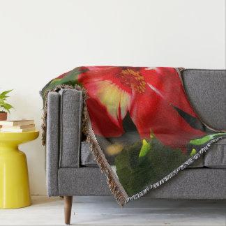 Red Hibiscus Flower in Sunlight Throw Blanket