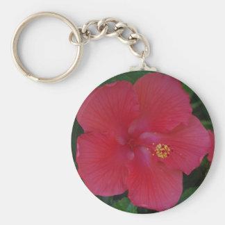 RED HIBISCUS FLOWER KEY RING