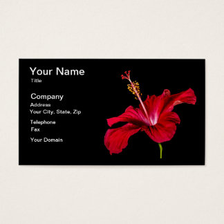 Red Hibiscus Flower Side View Business Card