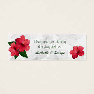 Red Hibiscus Flower Skinny Favor Tags