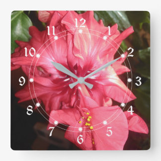 Red Hibiscus Flower Square Wall Clock