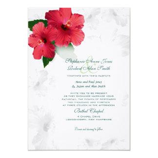 "Red Hibiscus Flowers, Custom Wedding Invitation 5"" X 7"" Invitation Card"