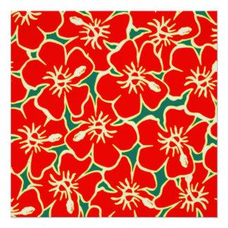 Red Hibiscus Flowers Tropical Hawaiian Luau