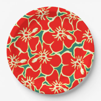 Red Hibiscus Flowers Tropical Hawaiian Luau 9 Inch Paper Plate