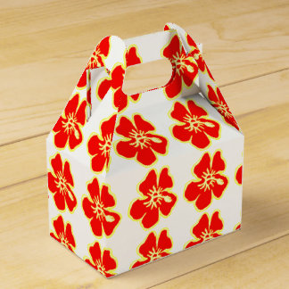Red Hibiscus Flowers Tropical Hawaiian Luau Favour Box