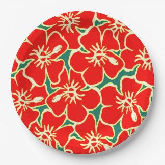 Red Hibiscus Flowers Tropical Hawaiian Luau Paper Plate