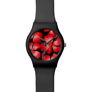 Red hibiscus flowers watch