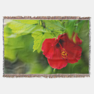 Red Hibiscus Hawaii Tropical Flower Throw Blanket