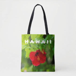 Red Hibiscus Hawaii Tropical Flower Tote Bag