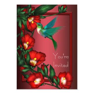 Red Hibiscus Hummingbird Invitation Template