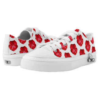 Red Hibiscus Low Top Shoes