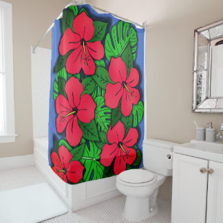 Red Hibiscus & Monstera Shower Curtain