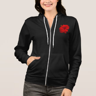 Red Hibiscus on Black- Customized Template Hoodie