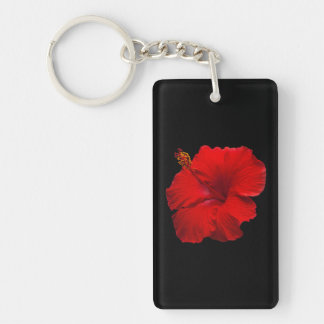 Red Hibiscus on Black- Customized Template Key Ring