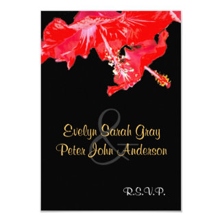 Red hibiscus  on black Wedding rsvp 9 Cm X 13 Cm Invitation Card