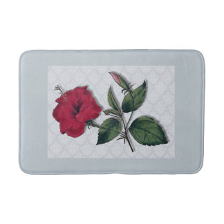 Red Hibiscus on lacy background Bath Mat