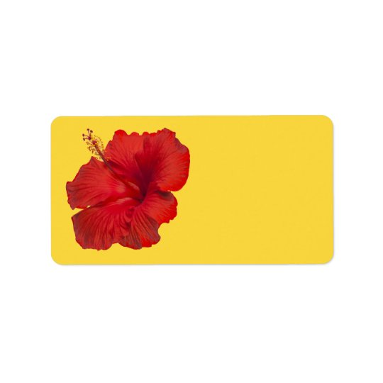 Red Hibiscus on Lemon Zest Yellow Template Label